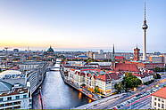 View of Berlin City: Berlin Cathedral, Rotes Rathaus (Red City Hall) & Fernsehturm (TV Tower)